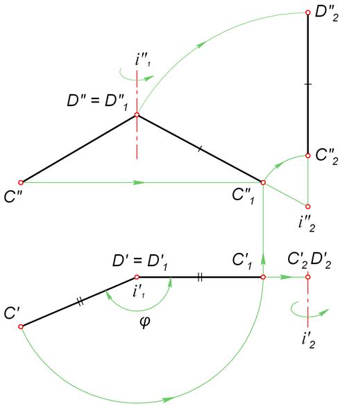 Способ вращения вокруг проецирующей прямой